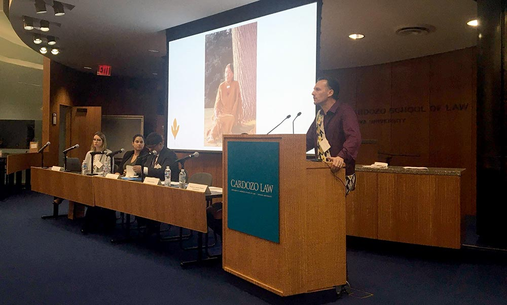 Lenape Center Co-Director Hadrien Coumans speaking at the Symposium on Innovations in Justice